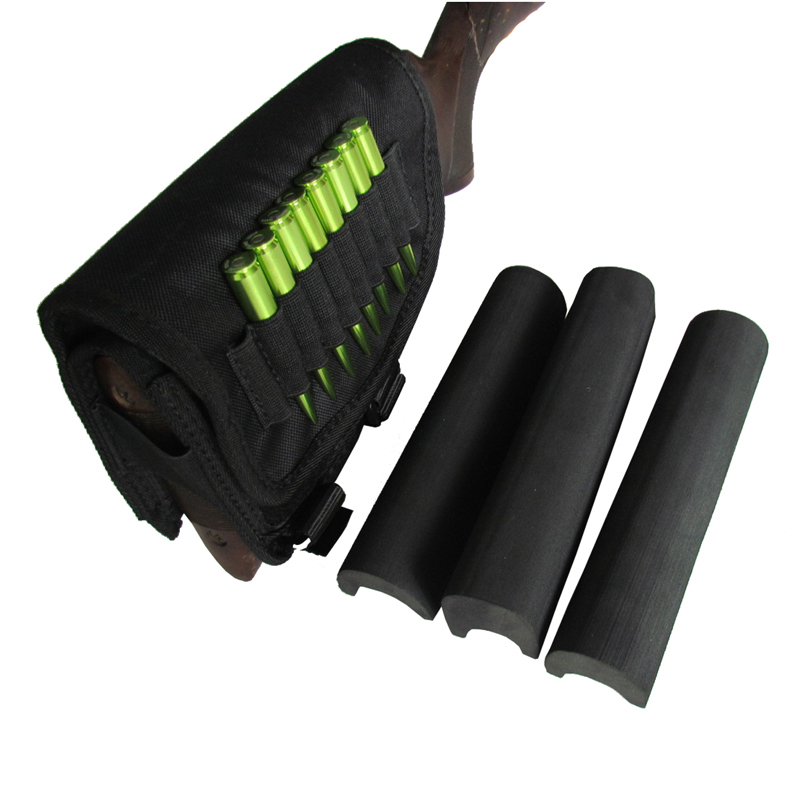 ФОТО Tourbon Hunting Rifle Cheek Rest Pad Shooting Buttstock Cartridges Holder with 3 Adjustable Pads Durable Nylon Gun Accessories