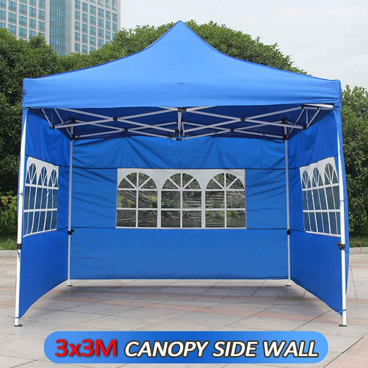 Oxford Cloth Party Tent With Sides Waterproof Garden Patio Outdoor Canopy 3x3m Sun Wall Sunshade Shelter