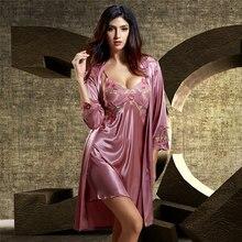 купить Robe Set Female Silk Satin Sleepwear Women Lace Embroidery Two-Piece Bathrobes Faux Silk Sexy Robes Gown Sets X6623 дешево