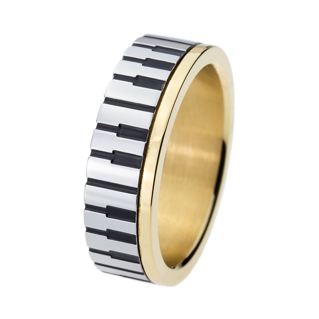 7mm Men Women' Gold Piano Key Board Ring for Music Lovers 316L Stainless Steel Wedding Engagement Fashion Jewelry TGTU509R