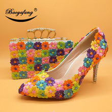 Toe-Shoes Matching-Bags Bride High-Heels Woman Pumps Pointe Multicolor with Payty And