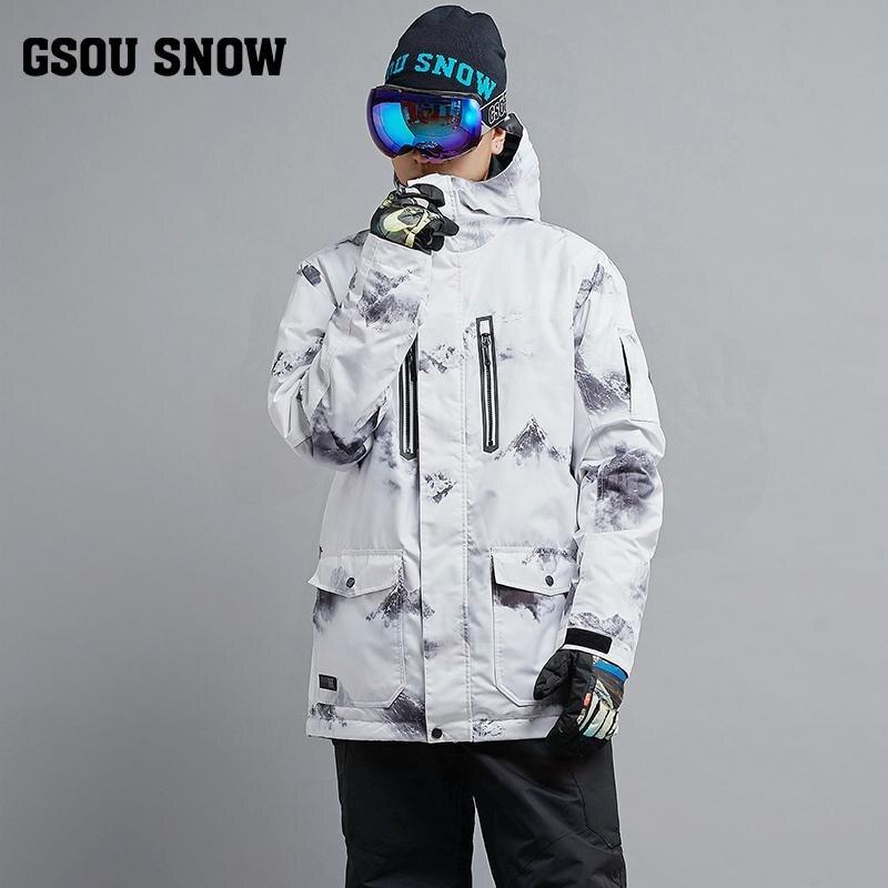 Nouveau chaud hommes neige costume vêtements Sports de plein air snowboard veste 10 K imperméable coupe-vent respirant ski vestes GSOU neige