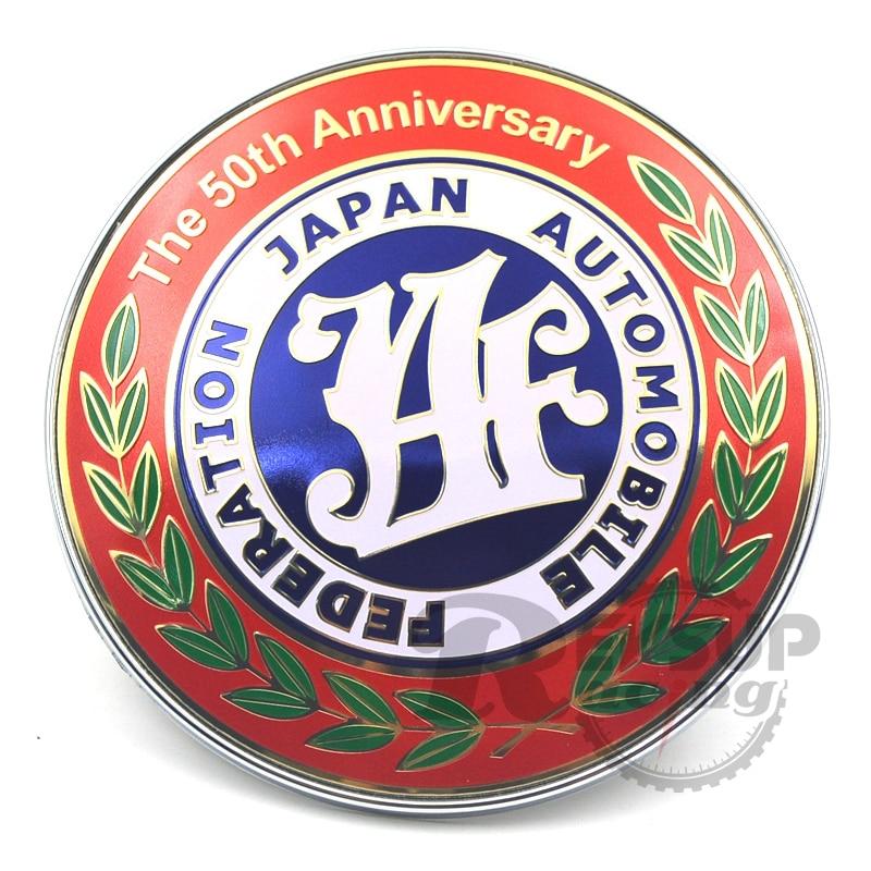 Red 9cm The 50th Anniversary JDM JAF Badge Front Grille Badge Emblem emblem