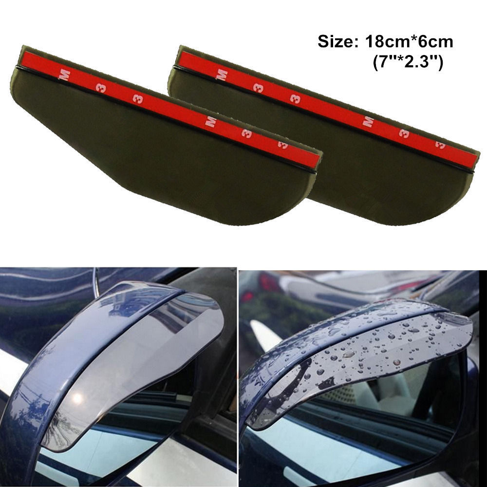 2 Pcs Black Universal Car Flexible Plastic Rear Mirror Rain Board Eyebrow Transparent Two Colors