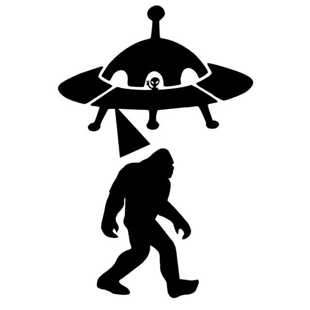 9 6cm 14 4cm sasquatch abduction ufo alien bigfoot car sticker vinyl