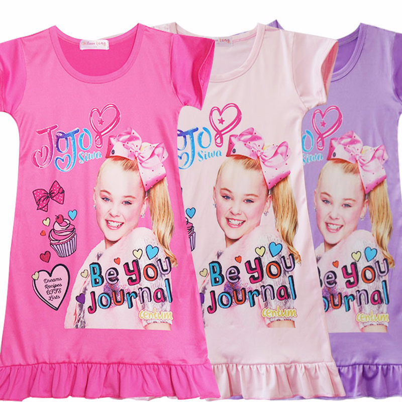 2ac0bb425e387 2018 New Fashion Girls Nightdress Casual Dresses Kids Jojo Siwa Pajamas  Nightgowns Home Clothing Sleepwear Princess Clothes-in Dresses from Mother  & Kids on ...