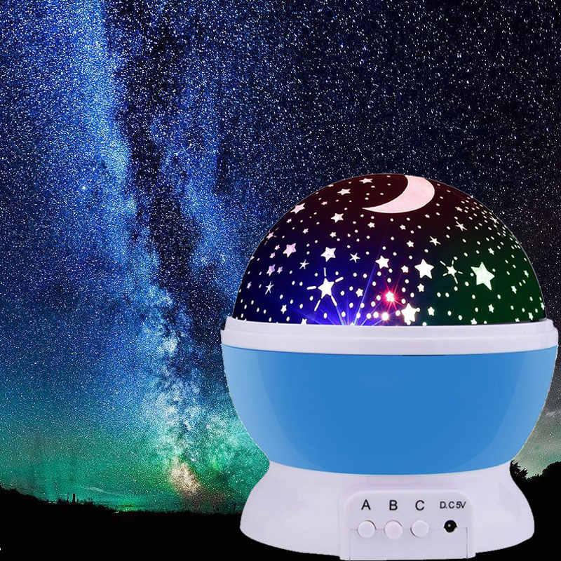 Светодиодный проектор с вращающейся звездой, новинка, освещение, вращение на Луну, детское ночное освещение, работающее от аккумулятора, аварийная лампа usb