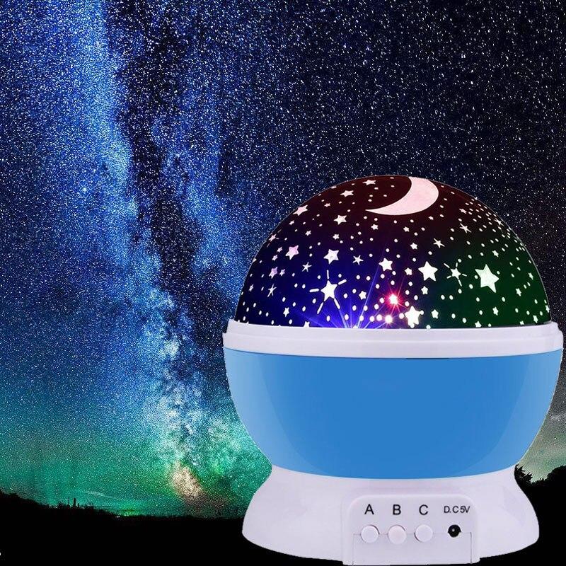 LED Rotante Star Del Proiettore Della Novità di Illuminazione Luna Cielo di Rotazione Per Bambini Scuola Materna Del Bambino Luce di Notte A Batteria usb Di Emergenza Della Lampada