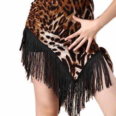 Детский костюм для бального Танго, танцевальный костюм с леопардовым принтом, бахромой и кисточками для девочек