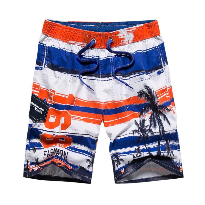 New Summer short men striped coconut tree printed board shorts men quick dry beach shorts water sports swim surf shorts men