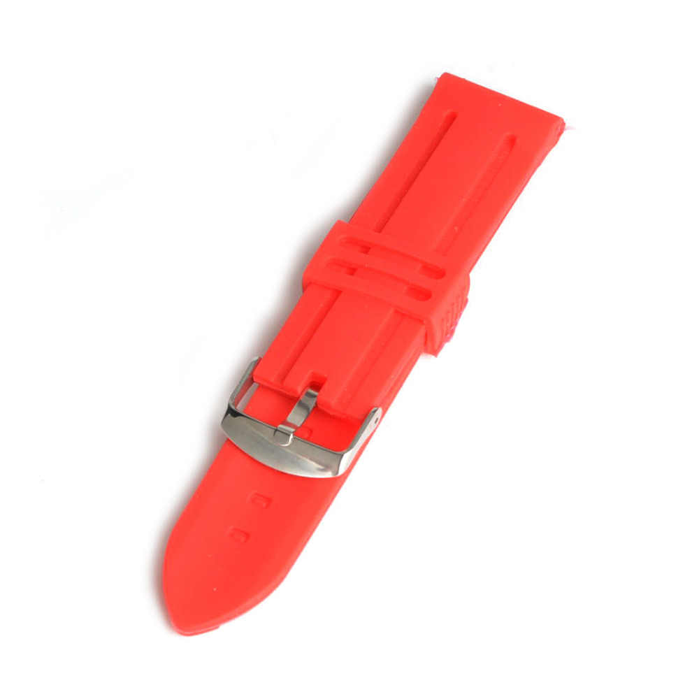 High Quality 20mm 22mm 24mm Silicone Strap Rubber Buckle Watchbands Men Women Sport Wrist Watch Band Red