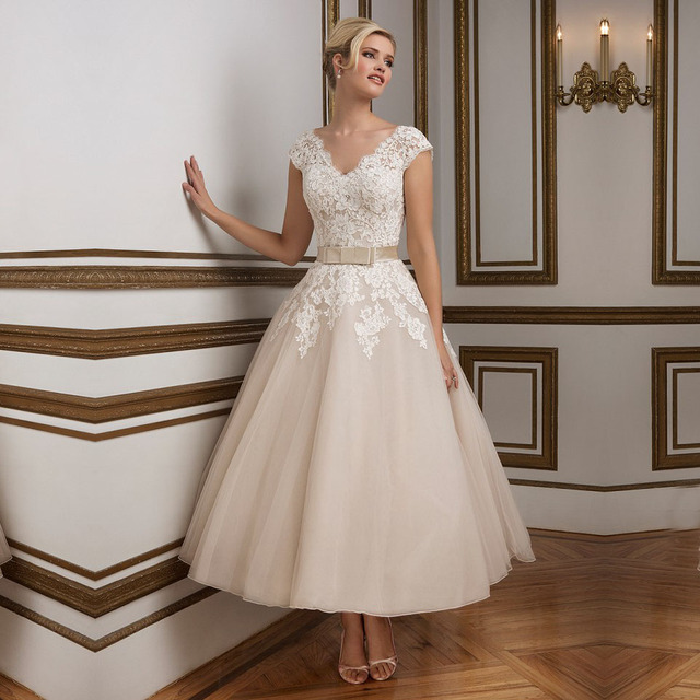 b007d5f4622 Ankle Length Lace A-line Wedding Dresses 2016 Princess Tulle V-neck Short  Sleeves