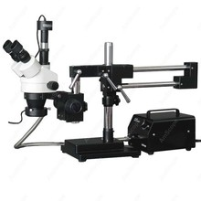 Stereo Boom Microscope AmScope Supplies 3 5X 90X Stereo Boom Microscope with 5MP Camera Fiber Optic