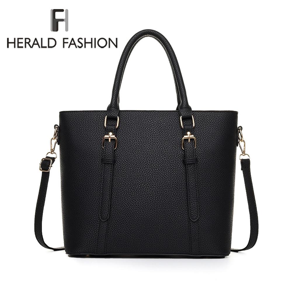 Herald Fashion New Leather Tote Bag Women Handbags Designer Large Capacity Shoulder Bags Fashion Lady Purses Crossbody Bag Bolsa