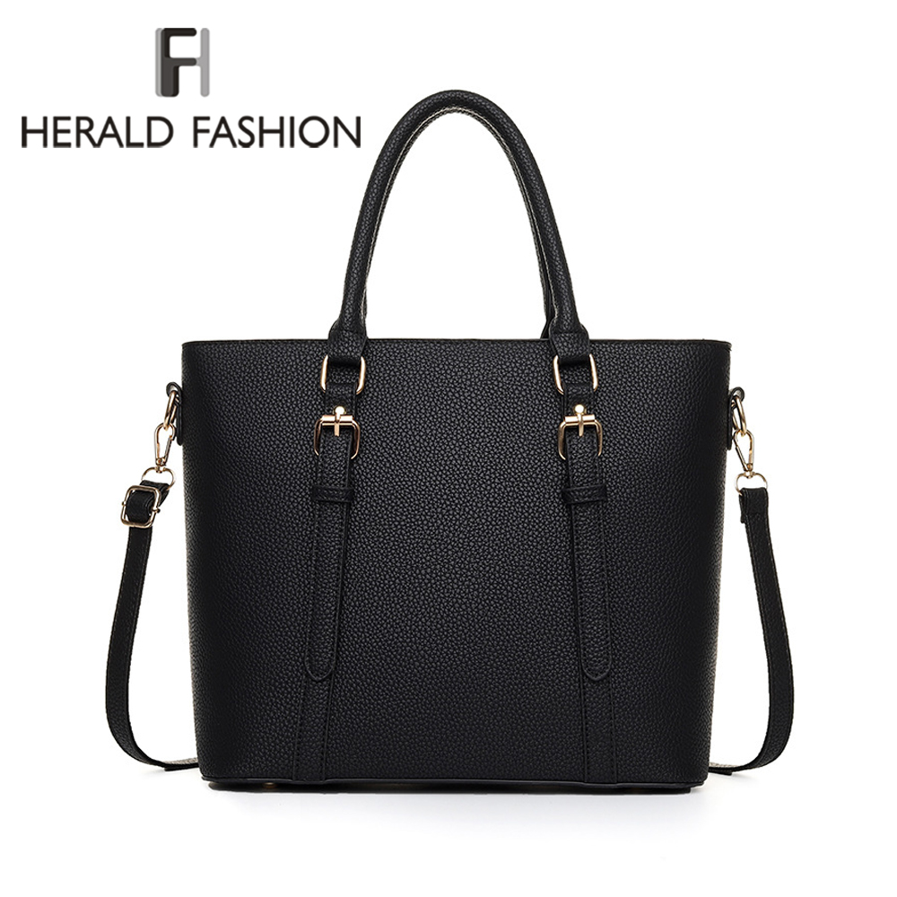Bild von Herald Fashion New Leather Tote Bag Women Handbags Designer Large Capacity Shoulder Bags Fashion Lady Purses Crossbody Bag Bolsa
