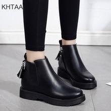 Women Casual Flat Platform Ankle Boots Female Zipper Fur Winter Warm Short Boots Shoes 2018 New Ladies Autumn Leisure Footwear