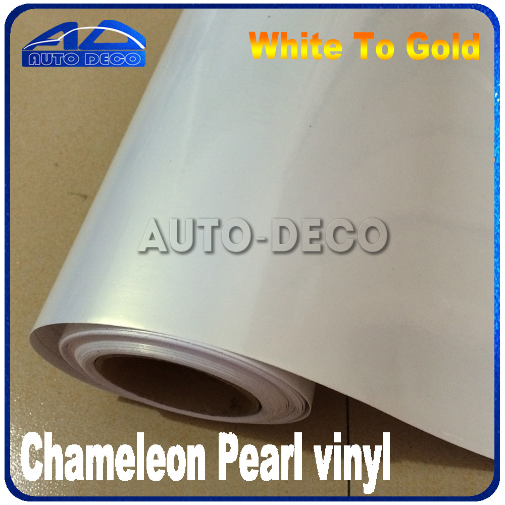 Pearl Chameleon White to Gold Golssy Car Sticker Vinyl Film With Air Bubble Free For Car Wrapping FedEx Free Shipping 20m/roll quality guarantee silver chrome vinyl film for car wrapping sticker with air bubble free 20m roll