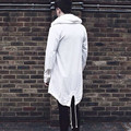 2017 hombres de la Moda Otoño Invierno Larga Chaqueta de Abrigo chaqueta de Punto Con Capucha Capa de Foso de La Manera Irregular Sólido Abrigo prendas de Vestir Exteriores Más Tamaño