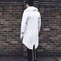 2017 homens da Moda Outono Inverno Cardigan Com Capuz Longo Trincheira Moda Sólida Irregular Manto Brasão Jacket Outerwear Casaco Plus Size