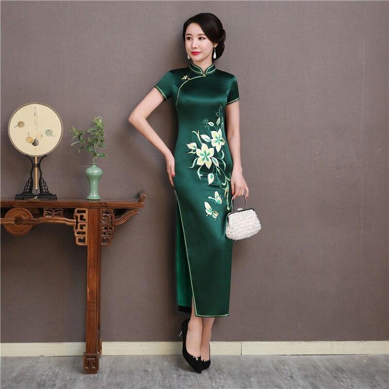 Courtes Soie Broderie Show Qipao Femmes Robe Oversize Cheongsam Vert Stage Nouvelle Manches Florale 2019 Élégant Été 3xl Robes qWgtSS
