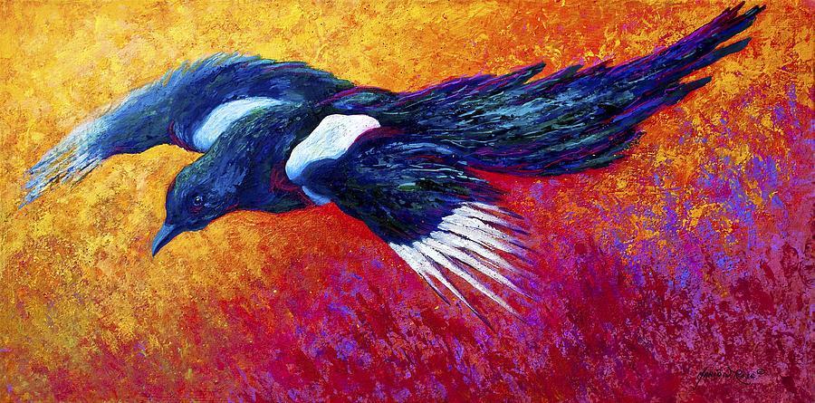 Magpie в полете холст печать в рамке современный холст настенное искусство для украшения дома и офиса, масляная живопись, животные боли