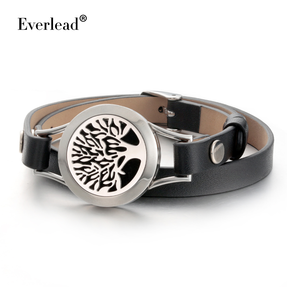 Everlead Love Tree of life Bracelets Real Leather Essential Oil Diffuser Locket Bracelets for Women Aromatherapy Bracelet&bangle 7