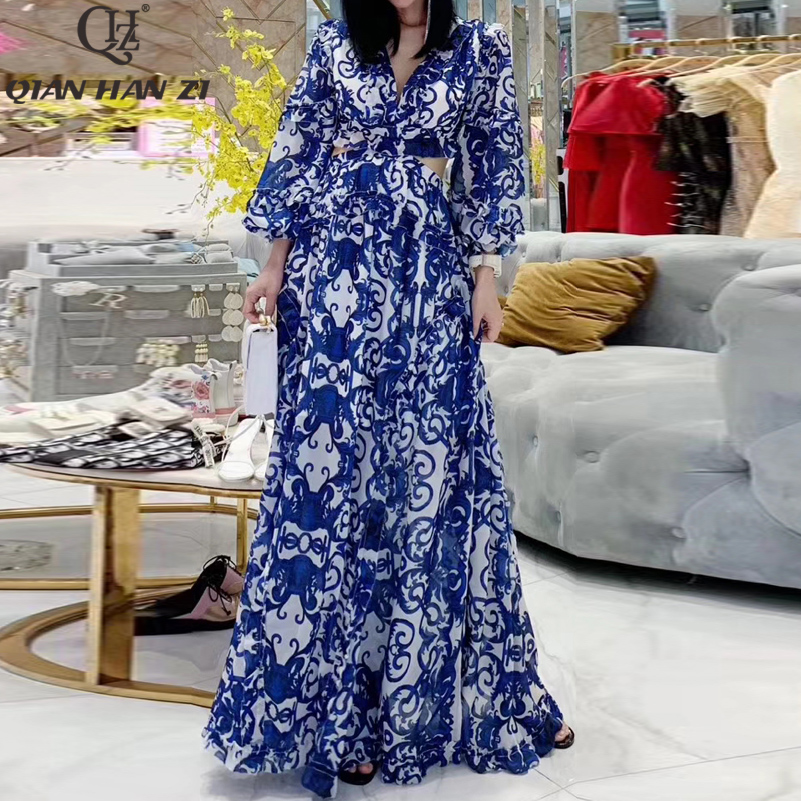 Qian Han Zi 2019 fashion Maxi dress Women Lantern Sleeve V neck Blue and white porcelain