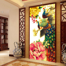100*52cm Needlework,DIY Cross stitch, Embroidery kit for set,Flower Fortune bird peacock print pattern Cross-Stitch animal decor
