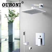 OUBONI Water Ceilling 8 ABS Shower Head Brass Valve Hand Spray Hose Bathtub Basin Sink Shower