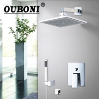 OUBONI Water Ceilling 8 ABS Shower Head Brass Valve Hand Spray Hose Bathtub Basin Sink Shower