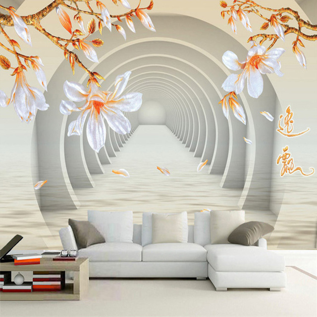 Kundenspezifische Wandtapete 3D Stereo Raum Jade Orchidee Blumen Wand  Malerei Moderne Abstrakte Kunst Wohnzimmer Hintergrund Wand