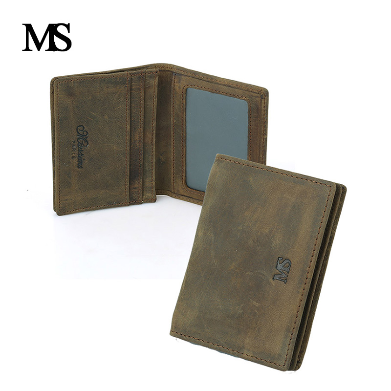 MS High Quality Genuine Crazy Horse Cowhide Leather Men Wallet Short Purse Small Vintage Wallet With Card Holder TWB026 crazy horse leather billfolds wallet card holder leather card case for men 8056r 1