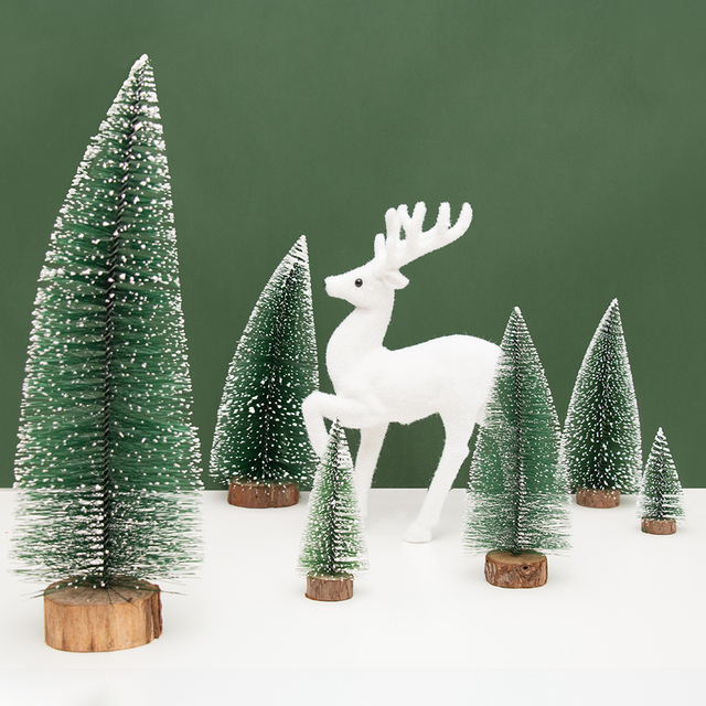10 25cm mini christmas tree stick home decoration white cedar desktop tabletop tree xmas party - White Mini Christmas Tree