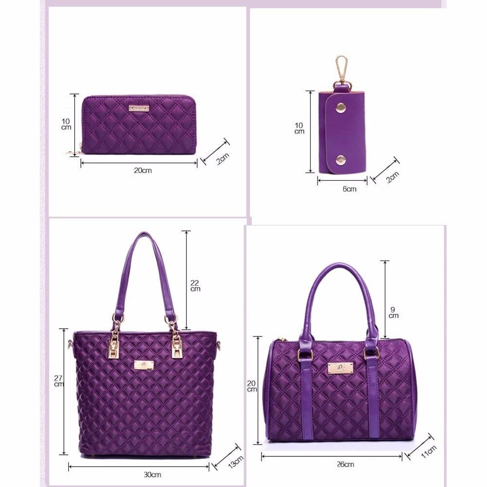 6 PcsSet Women Luxury Oxford Handbag Quilted ShoulderBag Elegant Ladies Messenger Bags Fashion Clutches Wallet New Arrival TTOS (2)