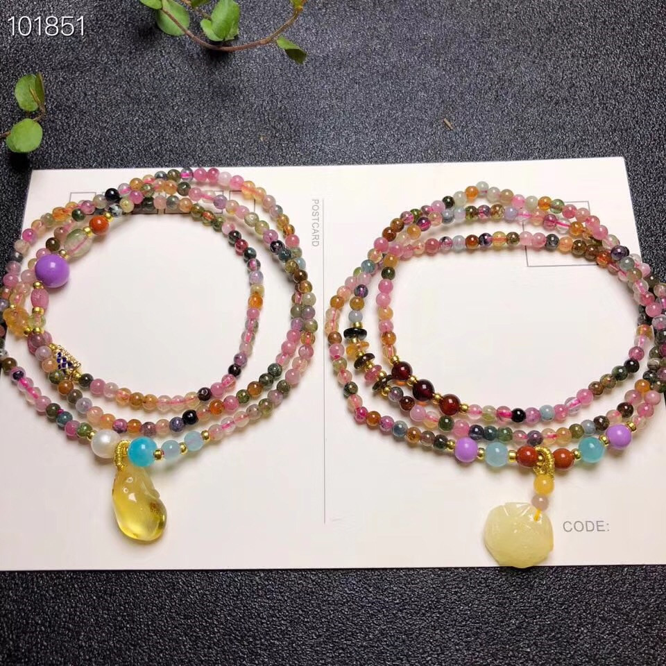 Wholesale 3.5mm beads Natural Tourmaline Bracelet with Natural Baltic Amber Pendant Women Fashion Jewelry shiying c04349 fashion elephant multilayer tourmaline natural crystal bracelet blue