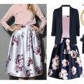 Женщины персик цветочный принт нью-эластичный высокой талией плиссе длинные миди юбка 2 цвета в наличии 2016 весной новые юбки женщин faldas