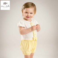 DB5079 Dave Bella Summer New Born Baby Girls Cotton Romper Childs Infant Romper Kids Lovely Rompers