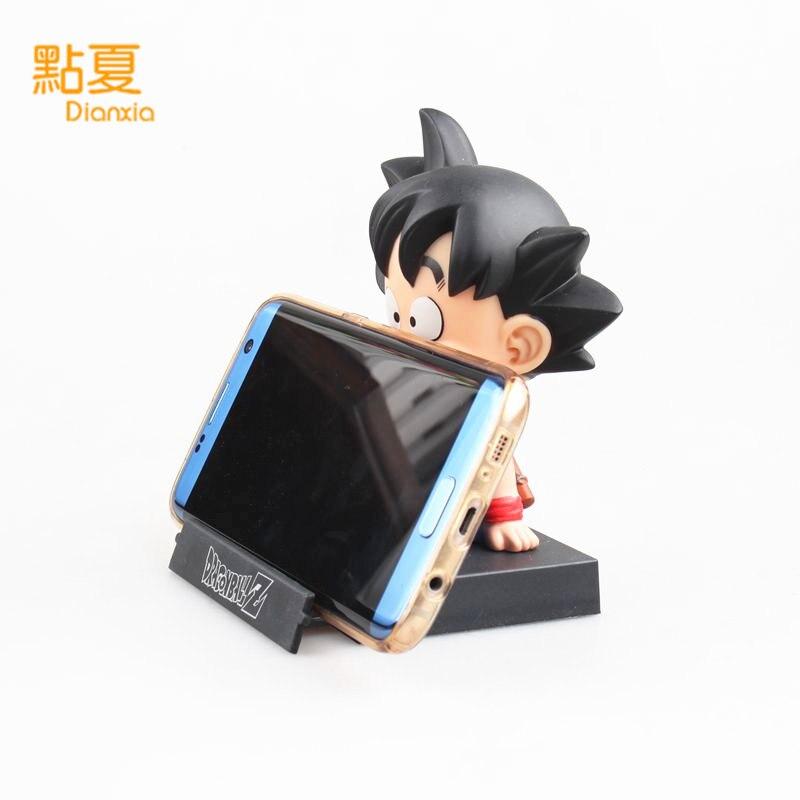 DIANXIA Anime Dragon Ball Z Goku Kuririn Car Decoration Shaking His Head Doll Phone Bracket Action Figure Toy Height About12cm