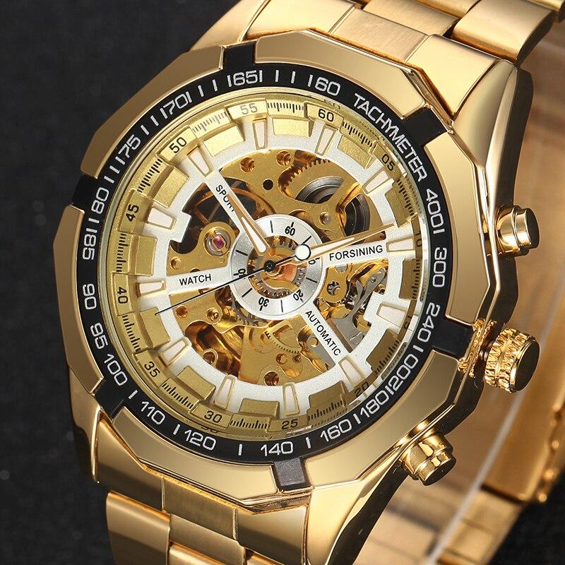 Luxury Brand Antique Skeleton Mechanical Watches Men Stainless Steel Golden Band Wristwatch Relogio Masculino