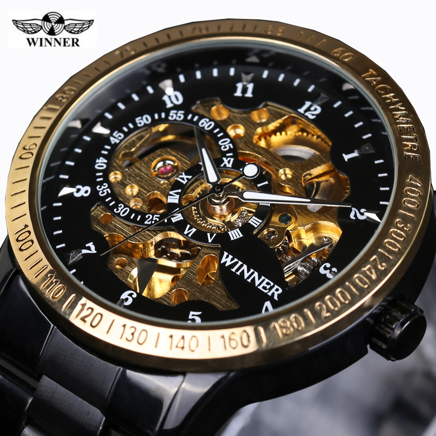 Classic Luxury WINNER Mens Automatic Skeleton Mechanical Watches Men Brand Military Full Steel Black Gold Watch Relogio new relogio esqueleto winner mens watches luxury sport men s automatic skeleton mechanical military watch relogios masculinos