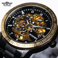 Classic Luxury WINNER Mens Automatic Skeleton Mechanical Watches Men Brand Military Full Steel Black Gold Watch
