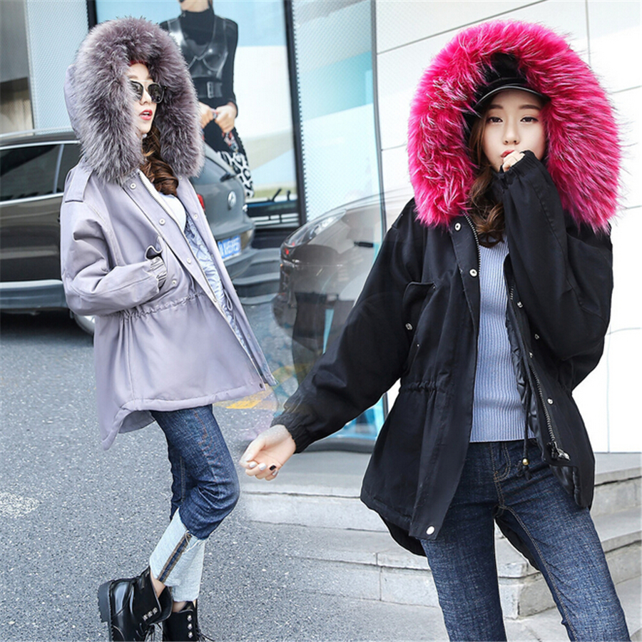 Women Parka Jacket Fur Collar Military Army Green Coat With Fur Hood Winter 2016 Cotton Padded Warm Outerwear Black Gray Red
