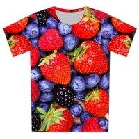 Plus Size XS 6XL 2016 Summer Men Women New 3D T Shirt Strawberry Blueberry Brand Design