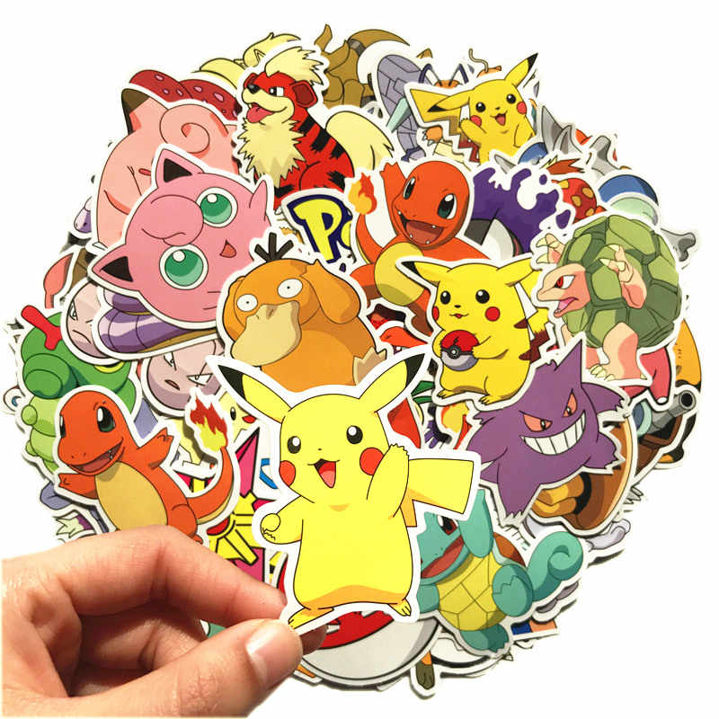 80pcs Pokemon Pikachu Cartoon Stickers Skateboard Laptop Luggage Car Sticker cosplay prop accessories