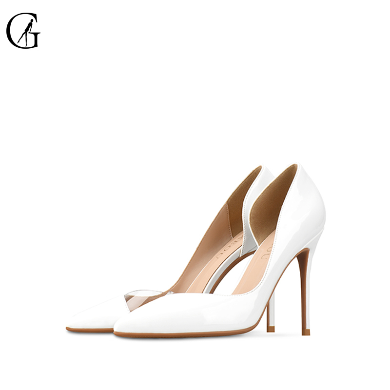 Goxeou Women Pumps 2018 Transparent 6-10cm High Heels Sexy Pointed Toe Slip-on Wedding Party Shoes white For Lady Size 34-46 gullick dark blue denim high heels pumps pointed toe metal blade heels dress shoes for women slip on lady party shoes size 10