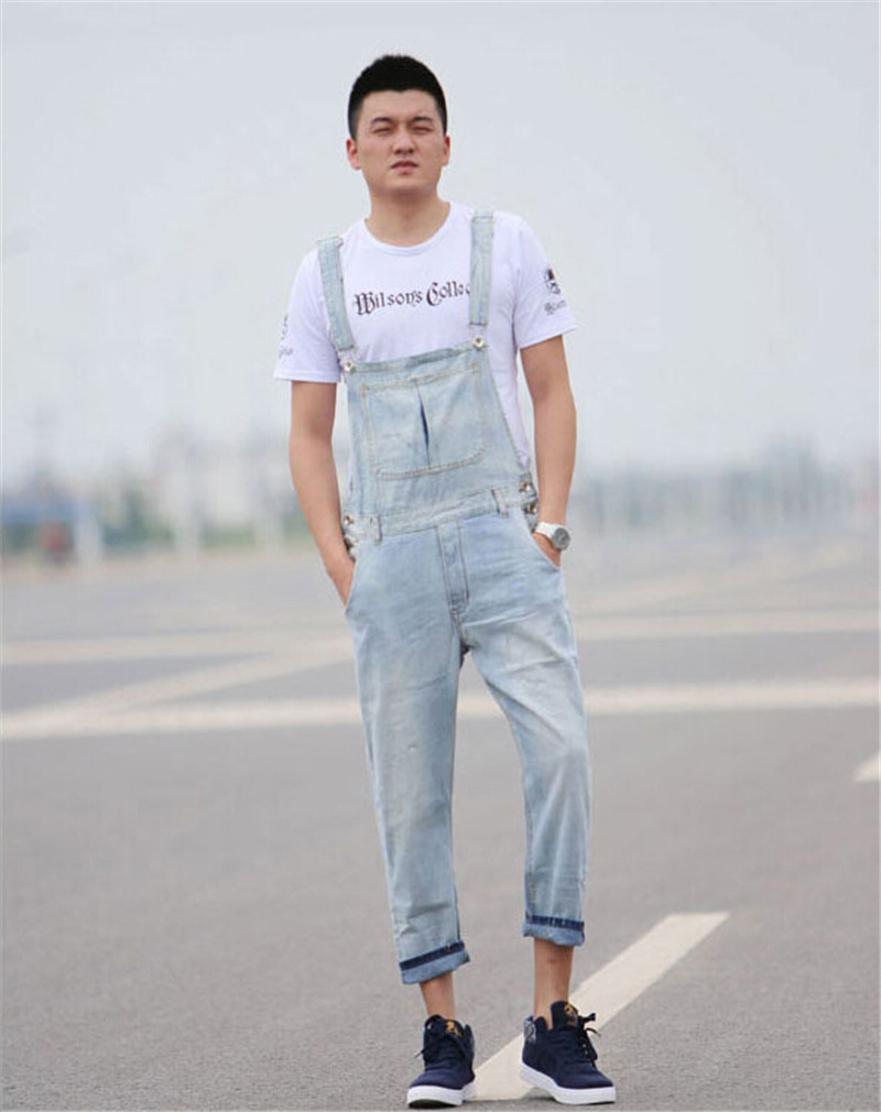 Limited Edition Men's Denim Bib Pants Light Blue White Skinny Pants Jumpsuit Overalls Trousers Plus Size SM L XL 2XL 3XL 4XL 5XL plus size pants the spring new jeans pants suspenders ladies denim trousers elastic braces bib overalls for women dungarees