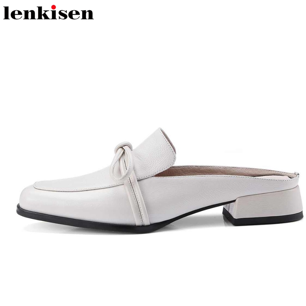 Lenkisen 2018 sweet square toe slingback genuine leather summer brand shoes sandals med heels mules party runway women pumps L43 gunsafe bs95 l43