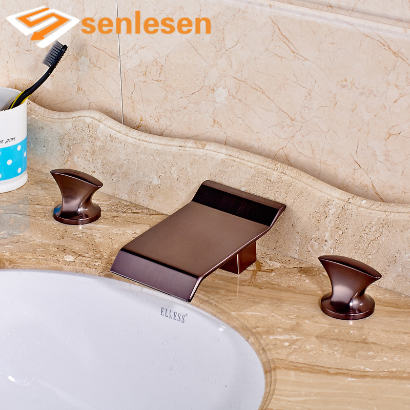 Basin Mixer Faucet for Bathroom Dual Handles Three Holes Oil Rubbed Bronze dc vinyl sticker decal jdm for euro ski skateboard snowboard jap car block