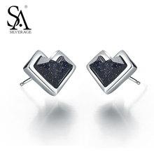 SA SILVERAGE Black Gemstone Hearts Stud Earrings for Wedding Fine Jewelry Classic Design 925 Sterling Silver Women Earrings