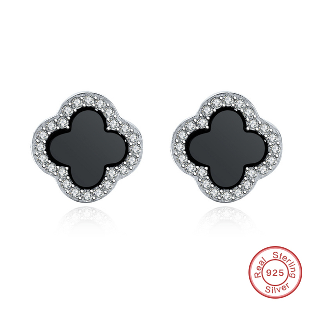 Diffe Sizes 925 Sterling Silver S Black Four Leaf Clover Earring For Women De084